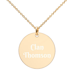Clan Thomson Scottish Engraved Silver Disc Necklace - Living Stone Gifts