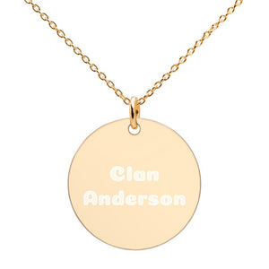 Clan Anderson Scottish Engraved Silver Disc Necklace