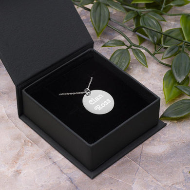 Clan Ross Scottish Engraved Silver Disc Necklace - Living Stone Gifts