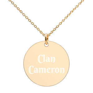 Clan Cameron Scottish Engraved Silver Disc Necklace - Living Stone Gifts