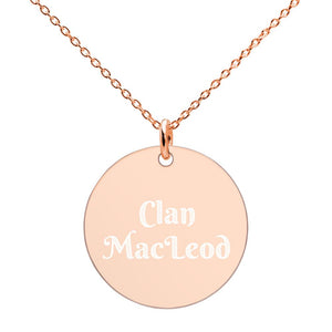 Clan MacLeod Scottish Engraved Silver Disc Necklace - Living Stone Gifts