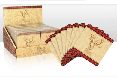 Classic Scotland Stag Set of 8 Coasters - Living Stone Gifts