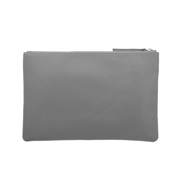 Zip Clutch Pouch Gray