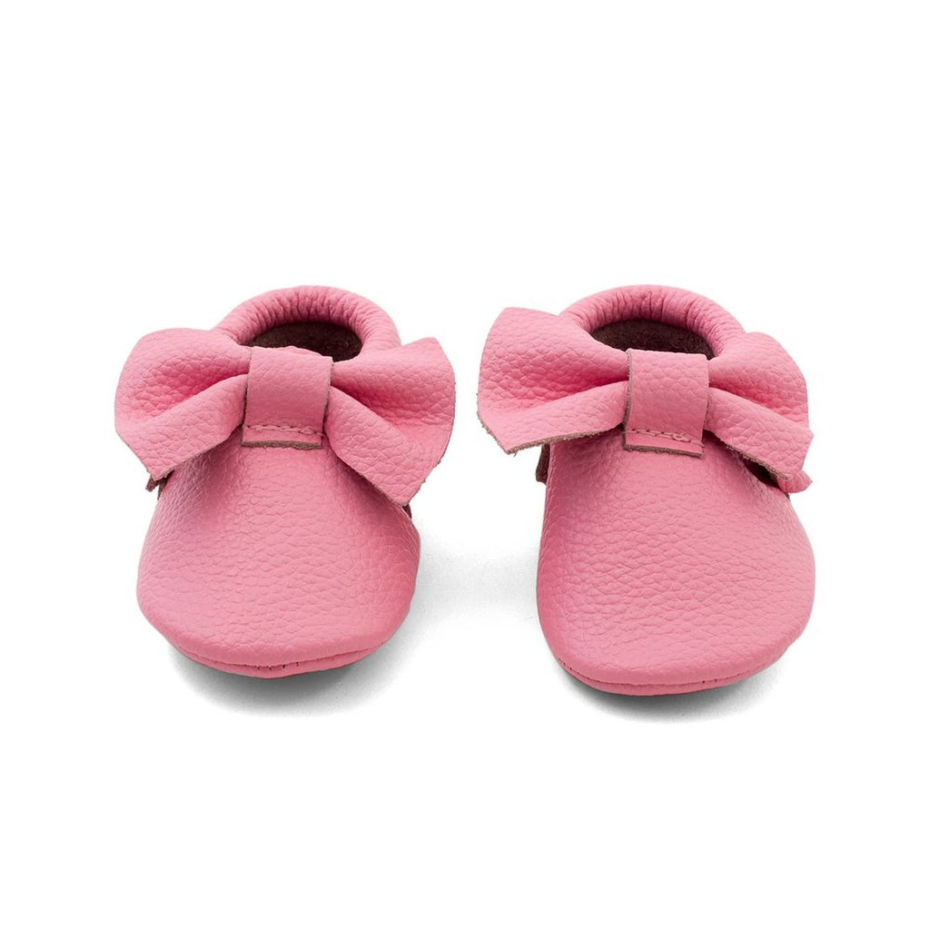Bow Baby Leather Moccasins Pink Lemonade