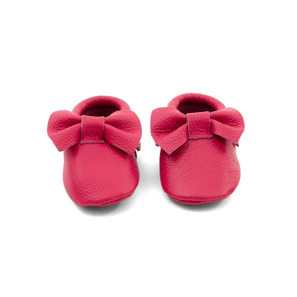 Bow Baby Leather Moccasins Fuchsia Swing