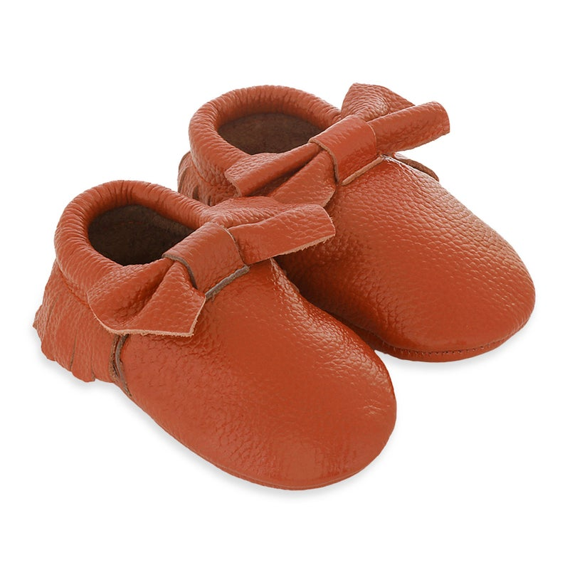 Genuine Leather Baby Toddler Moccasins - Bow Orange