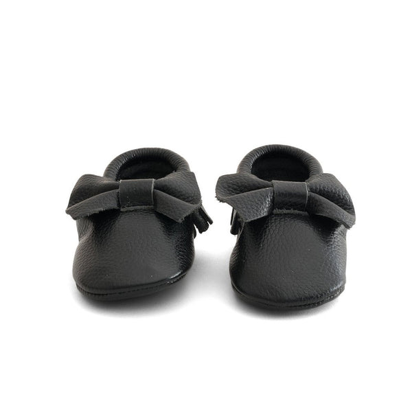 Bow Baby Leather Moccasins Black Beauty