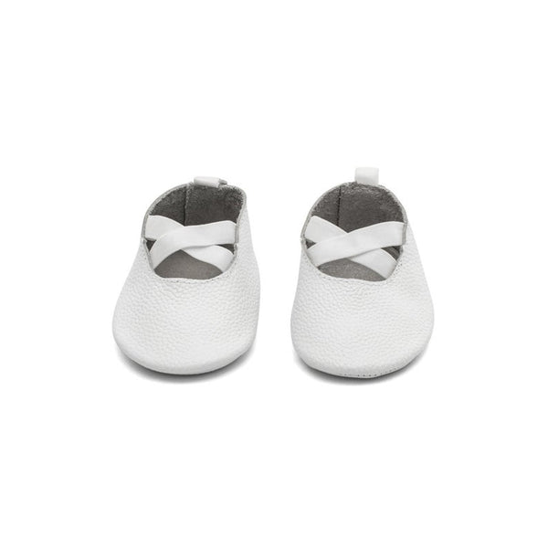 Ballerina Leather Baby Moccasins - White
