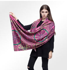 MAC&LOU Cashmere and Silk Scarf Oversized Long Large Shawl Stole Wrap Wheels Colorful Print Elegant