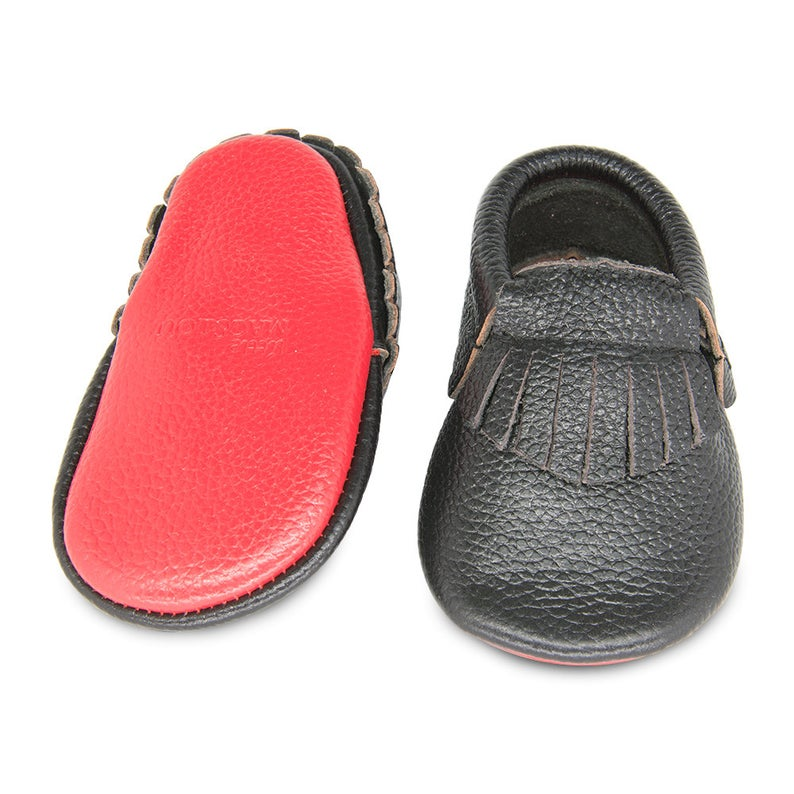 Genuine Leather Baby Toddler Moccasins - Black/Red