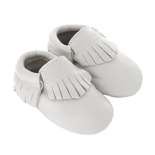 Fringe Baby Leather Moccasins White Wedding