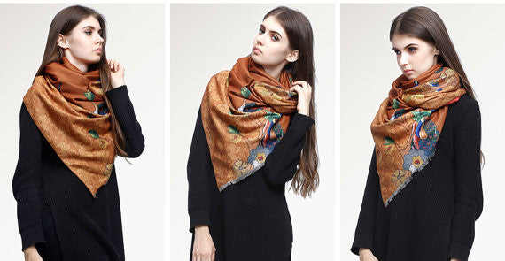 MAC&LOU Cashmere and Silk Scarf Oversized Long Large Shawl Stole Wrap Peacock Trees Flowers Colorful Print Elegant Brown