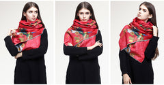 MAC&LOU Cashmere and Silk Scarf Oversized Long Large Shawl Stole Wrap Peacock Trees Flowers Colorful Print Elegant Red