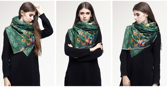 MAC&LOU Cashmere and Silk Scarf Oversized Long Large Shawl Stole Wrap Peacock Trees Flowers Colorful Print Elegant Green
