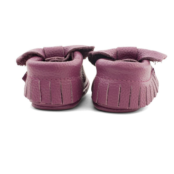 Bow Baby Leather Moccasins Purple Rain
