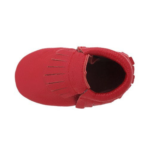 Fringe Baby Leather Moccasins Red Corvette
