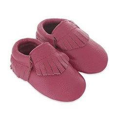 Fringe Baby Leather Moccasins Fuchsia Swing