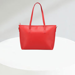 Leather Plain Top Handle Bag - Red