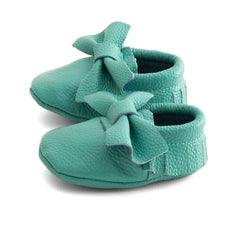 Bow Baby Leather Moccasins Teal Seal
