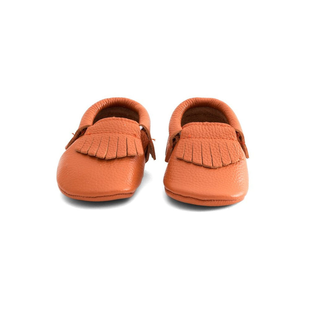 Fringe Baby Leather Moccasins Orange