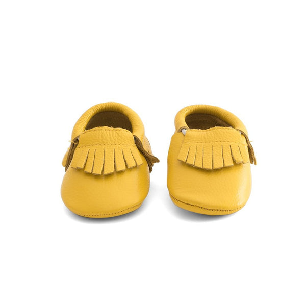 Fringe Baby Leather Moccasins Yellow Submarine