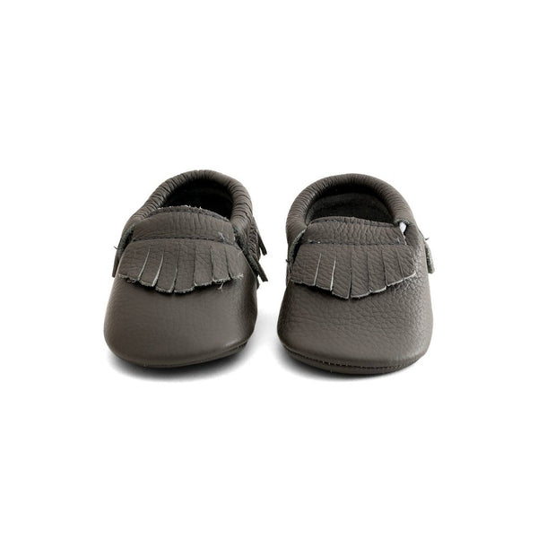 Fringe Baby Leather Moccasins Grey Quartz