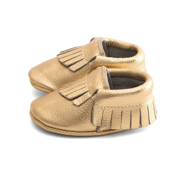 Fringe Baby Leather Moccasins Gold Rush