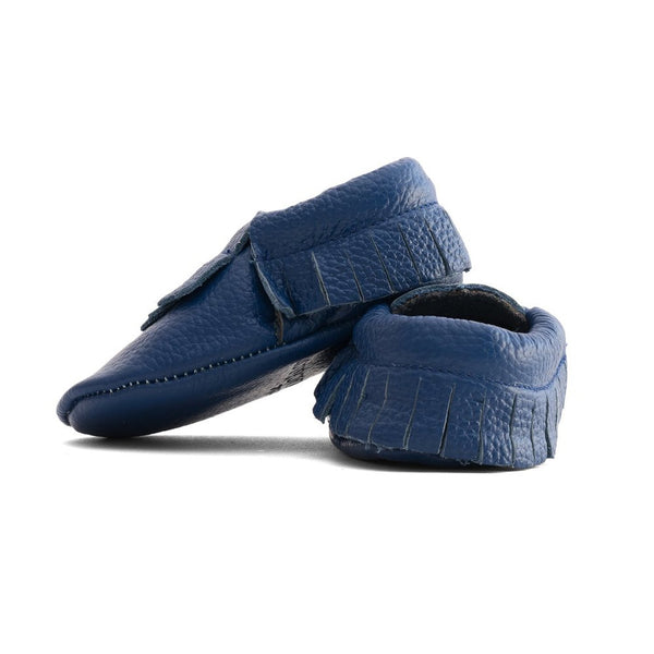 Fringe Baby Leather Moccasins Blue