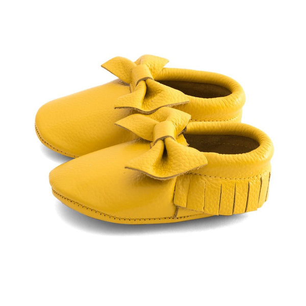 Bow Baby Leather Moccasins Yellow Submarine