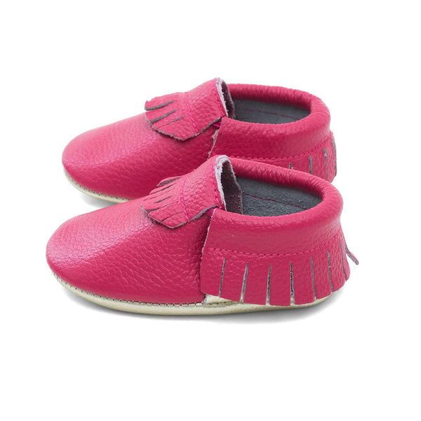 Baby Gladiator Leather Moccasins Fuchsia/Gold