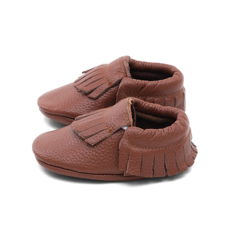 Baby Gladiator Leather Moccasins Brown