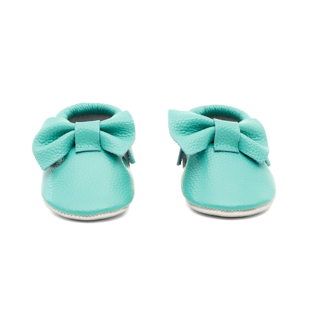 Baby Bow Leather Moccasins Teal/Gold