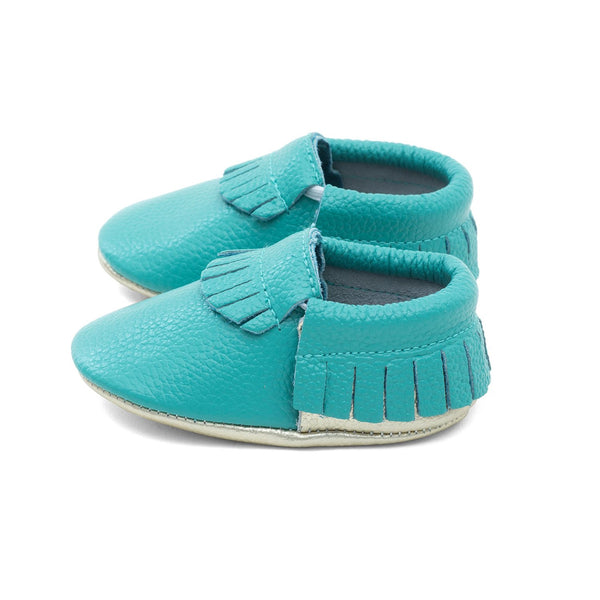 Baby Gladiator Leather Moccasins Teal/Gold
