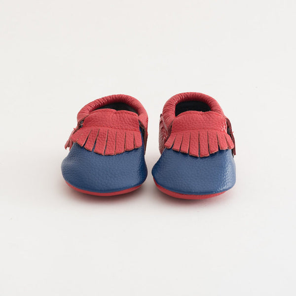 Baby Gladiator Leather Moccasins Blue/Red