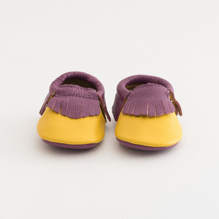 Baby Gladiator Leather Moccasins Purple/Yellow