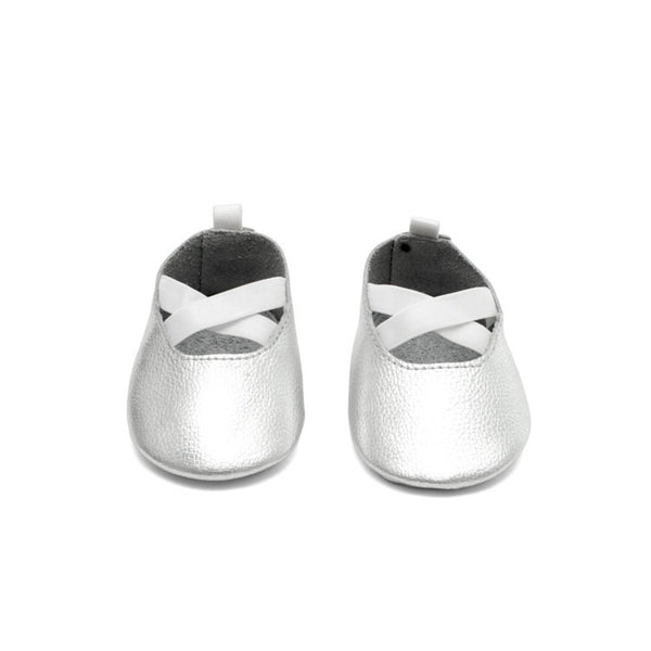 Ballerina Leather Baby Moccasins Silver