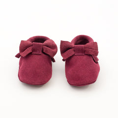 Bow Baby Leather Suede Moccasins Burgundy Truffle