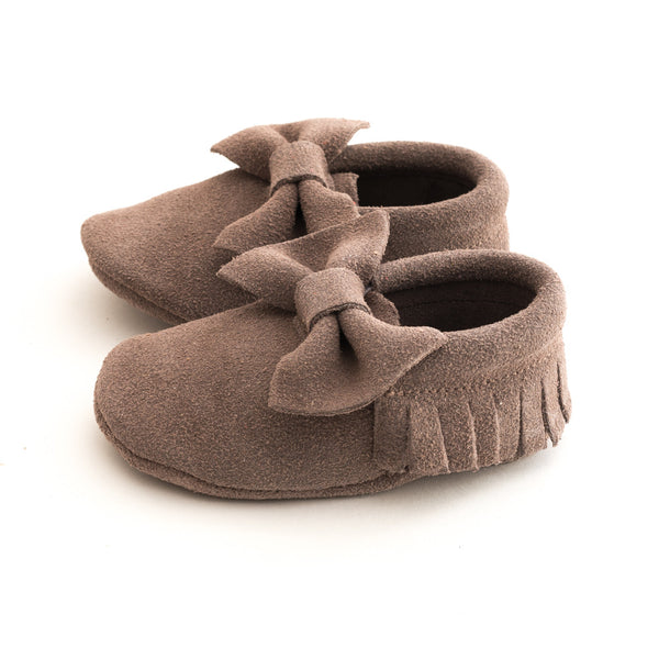 Bow Baby Leather Suede Moccasins Gray