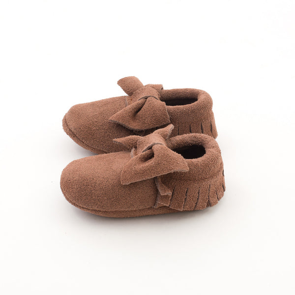 Bow Baby Leather Suede Moccasins Brown Sugar