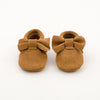 Bow Baby Leather Suede Moccasins Yellow Mustard