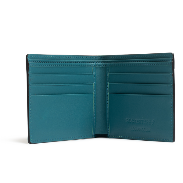 ROCKERTYPE Crocodile Leather Wallet - Turquoise