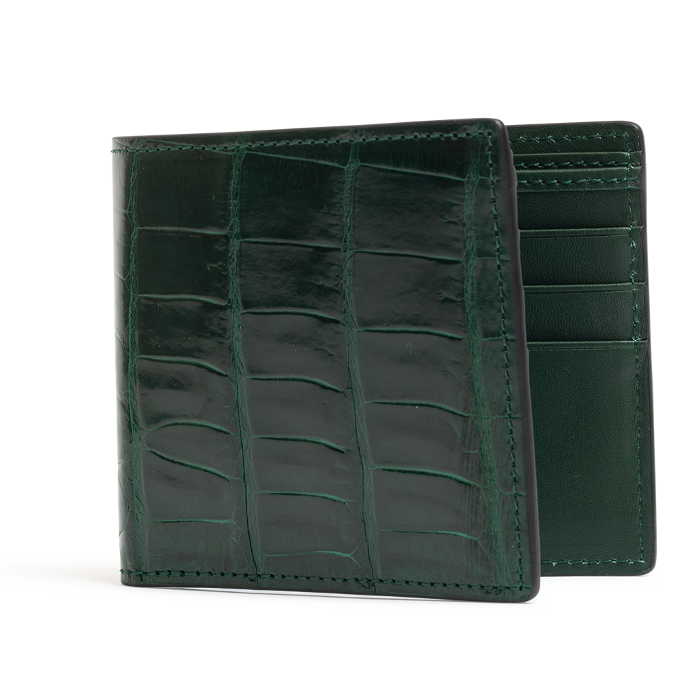 ROCKERTYPE Crocodile Leather Wallet - Green