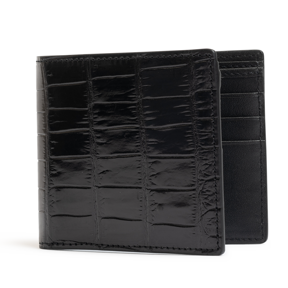 ROCKERTYPE Crocodile Leather Wallet - Black