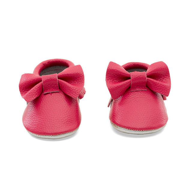Baby Bow Leather Moccasins Fuchsia/Gold