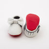 Bow Baby Leather Moccasins White/Red