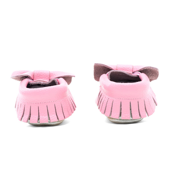 Baby Bow Leather Moccasins Pink/Gold