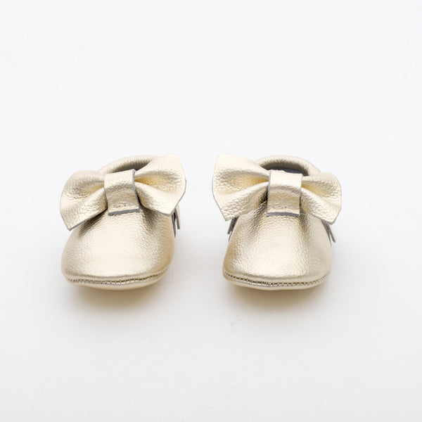 Bow Baby Leather Moccasins Gold Rush