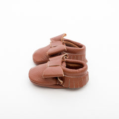 Ribbon Baby Leather Moccasins Brown Sugar