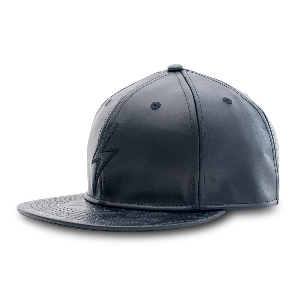 Rockertype Leather Baseball Hat Pitch Black
