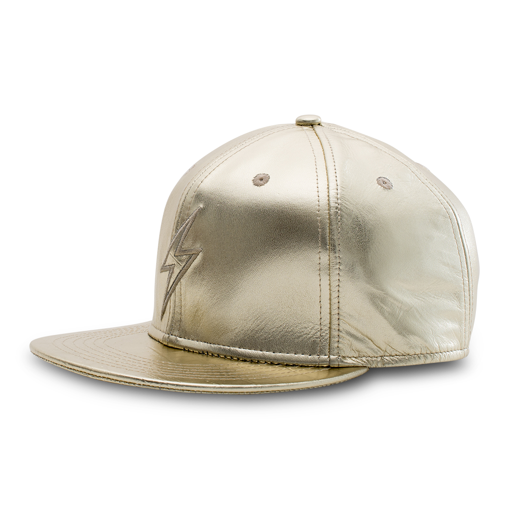 Rockertype Leather Baseball Hat Oscar Gold